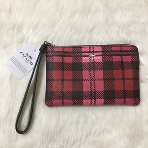 Coach pink and Red Plaid Wristlet